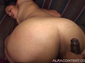 Chubby black slut gets fucked and jizzed on